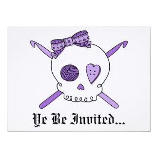 Skull & Crochet Hooks (Purple Background) 5.5x7.5 Paper Invitation Card