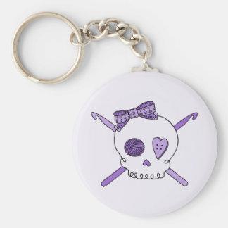Skull & Crochet Hooks (Purple Background) Keychain