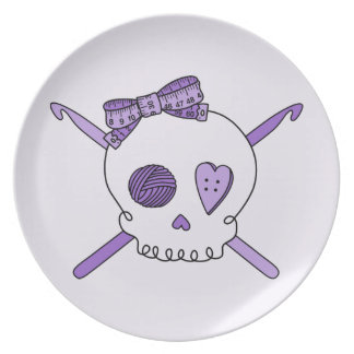 Skull & Crochet Hooks (Purple Background) Melamine Plate
