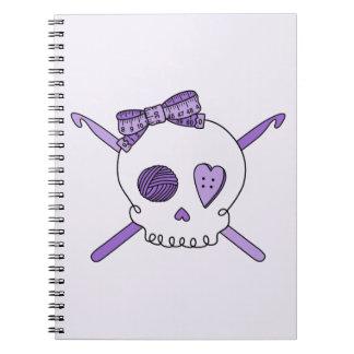 Skull & Crochet Hooks (Purple Background) Notebook