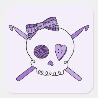 Skull & Crochet Hooks (Purple Background) Square Sticker
