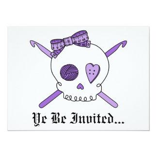 Skull & Crochet Hooks (Purple) 5.5x7.5 Paper Invitation Card