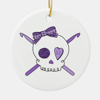 Skull & Crochet Hooks (Purple) Double-Sided Ceramic Round Christmas Ornament