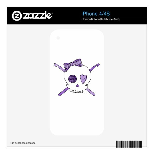 Skull & Crochet Hooks (Purple) Decals For The iPhone 4