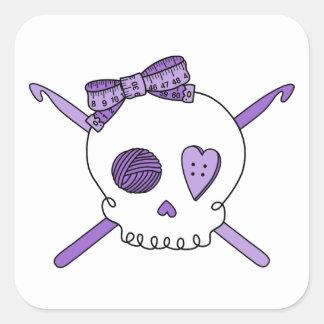 Skull & Crochet Hooks (Purple) Square Sticker