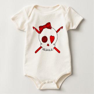 Skull & Crochet Hooks (Red) Baby Bodysuit