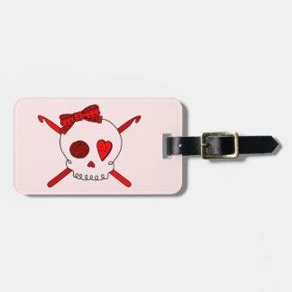 Skull & Crochet Hooks (Red Background) Bag Tag