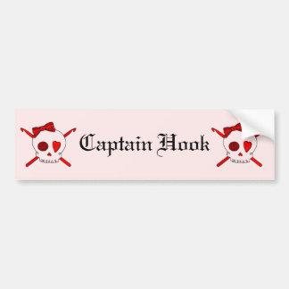 Skull & Crochet Hooks (Red Background) Bumper Sticker