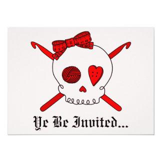 Skull & Crochet Hooks (Red Background) Card
