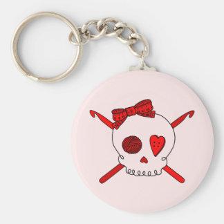 Skull & Crochet Hooks (Red Background) Keychain