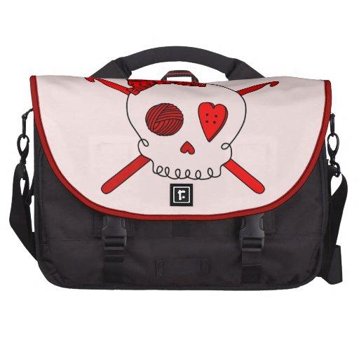 Skull & Crochet Hooks (Red Background) Bags For Laptop