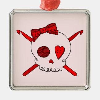 Skull & Crochet Hooks (Red Background) Square Metal Christmas Ornament