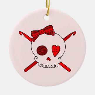 Skull & Crochet Hooks (Red Background) Double-Sided Ceramic Round Christmas Ornament