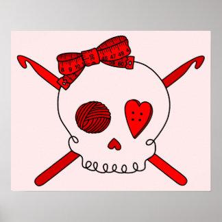 Skull Crochet Hooks Red Background Print