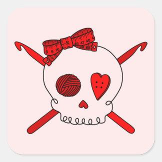 Skull & Crochet Hooks (Red Background) Square Sticker