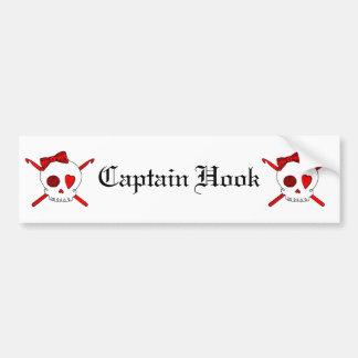 Skull & Crochet Hooks (Red) Bumper Sticker