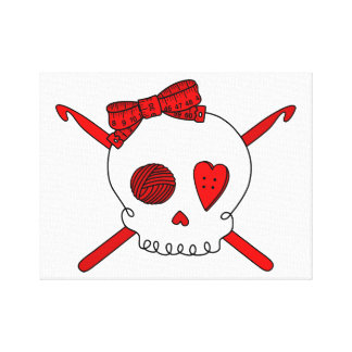 Skull & Crochet Hooks (Red) Canvas Print
