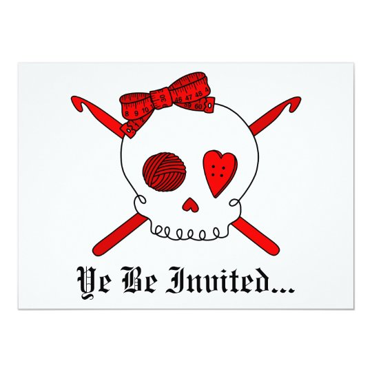 Skull & Crochet Hooks (Red) Card