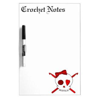 Skull & Crochet Hooks (Red) Dry Erase Board