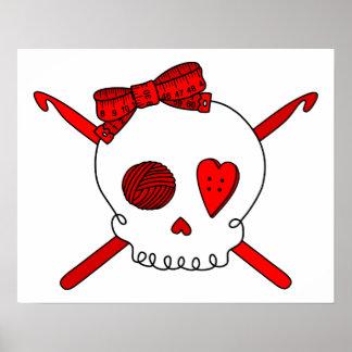 Skull & Crochet Hooks (Red) Poster