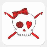 Skull & Crochet Hooks (Red) Sticker