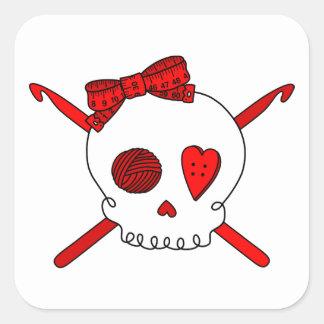 Skull & Crochet Hooks (Red) Square Sticker