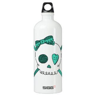 Skull & Crochet Hooks (Turquoise) Aluminum Water Bottle