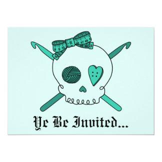 Skull & Crochet Hooks (Turquoise Background) Card