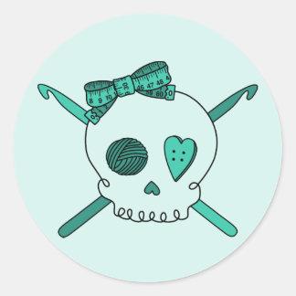 Skull & Crochet Hooks (Turquoise Background) Classic Round Sticker