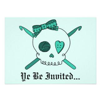 Skull & Crochet Hooks (Turquoise Background) Custom Announcements