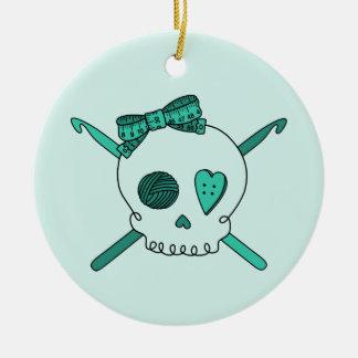 Skull & Crochet Hooks (Turquoise Background) Double-Sided Ceramic Round Christmas Ornament
