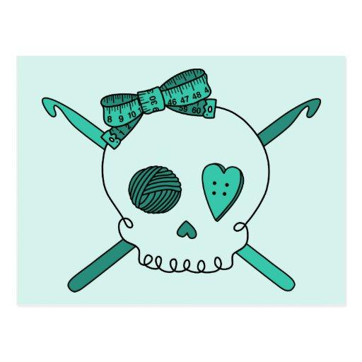 Skull & Crochet Hooks (Turquoise Background) Postcard