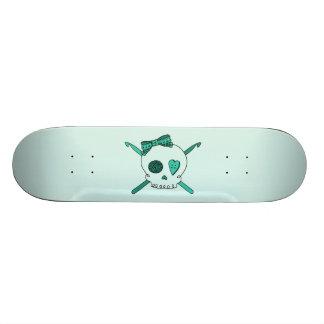 Skull & Crochet Hooks (Turquoise Background) Skateboard Deck