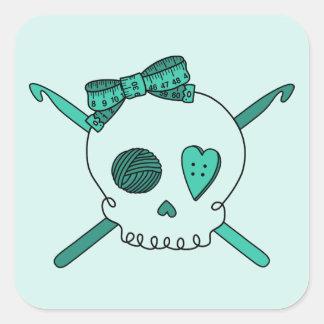Skull & Crochet Hooks (Turquoise Background) Square Sticker