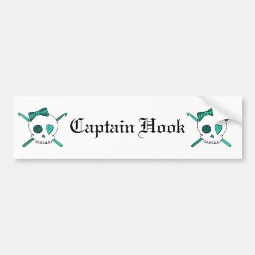 Skull & Crochet Hooks (Turquoise) Bumper Stickers