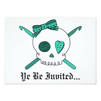 Skull & Crochet Hooks (Turquoise) Card