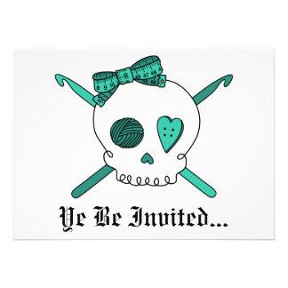 Skull & Crochet Hooks (Turquoise) Invite