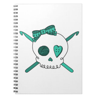 Skull & Crochet Hooks (Turquoise) Notebook