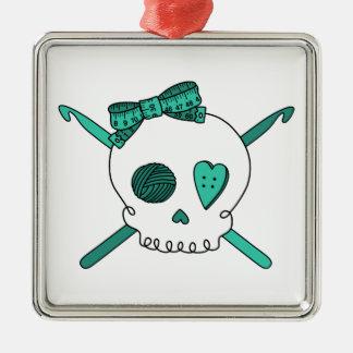 Skull & Crochet Hooks (Turquoise) Square Metal Christmas Ornament