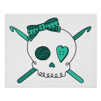 Skull & Crochet Hooks (Turquoise) Poster