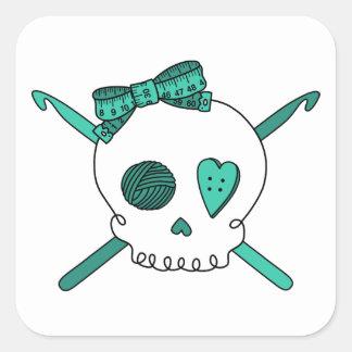 Skull & Crochet Hooks (Turquoise) Square Sticker