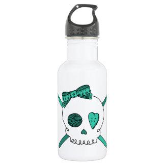 Skull & Crochet Hooks (Turquoise) Water Bottle