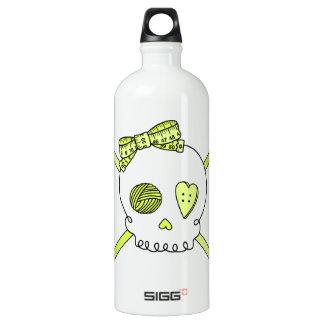Skull & Crochet Hooks (Yellow) Aluminum Water Bottle