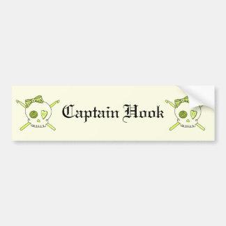 Skull & Crochet Hooks (Yellow Background) Bumper Sticker