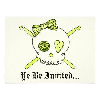 Skull & Crochet Hooks (Yellow Background) Personalized Invitations