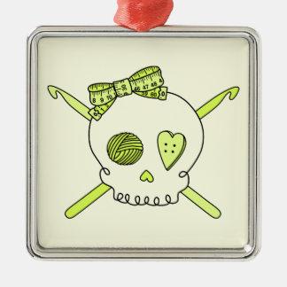 Skull & Crochet Hooks (Yellow Background) Square Metal Christmas Ornament