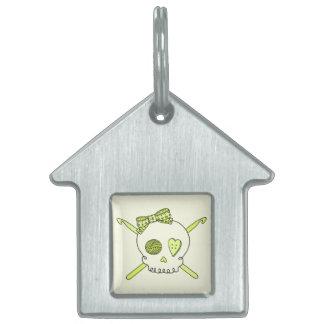 Skull & Crochet Hooks (Yellow Background) Pet Name Tags