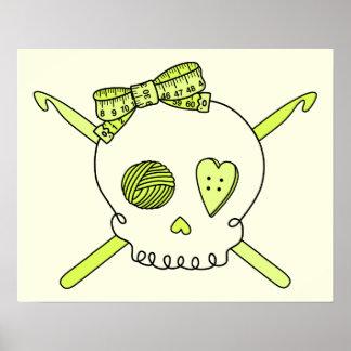 Skull Crochet Hooks Yellow Background Posters