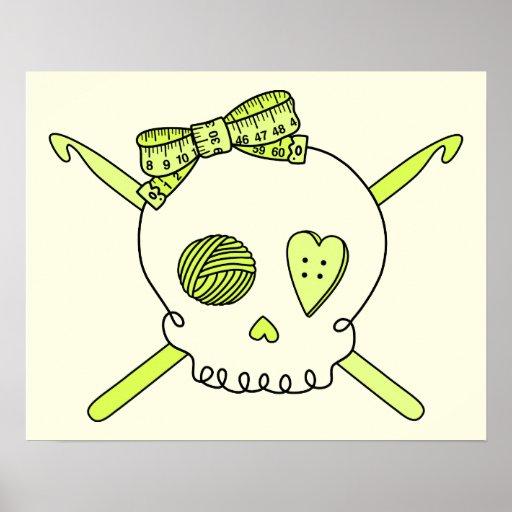 Skull & Crochet Hooks (Yellow Background) Poster