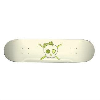 Skull & Crochet Hooks (Yellow Background) Skateboard Deck